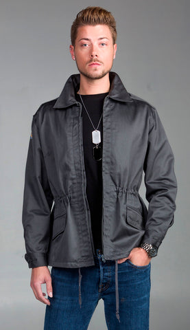 Dark Gray Slanted Pocket Combat Jacket