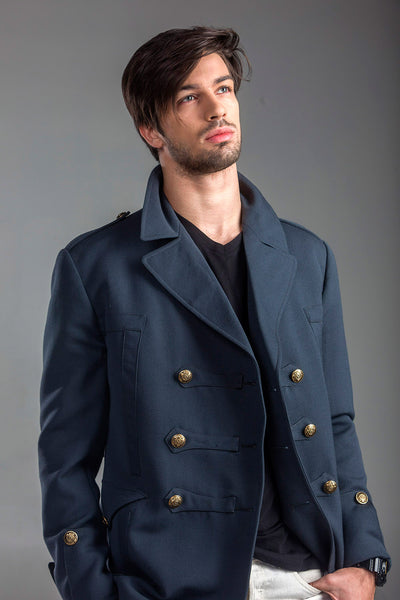 Gabardine Gray Blue Flamboyant Wool Coat