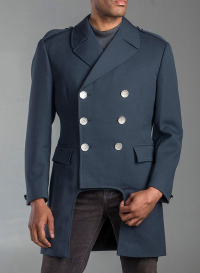 Cropped Vintage Gabardine Gray Blue Wool Coat
