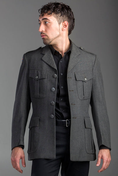 Authentic Charcoal Military Style Blazer