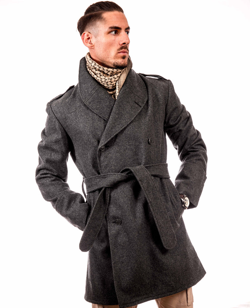 Redesigned Blue-Gray Wool Trenchcoat