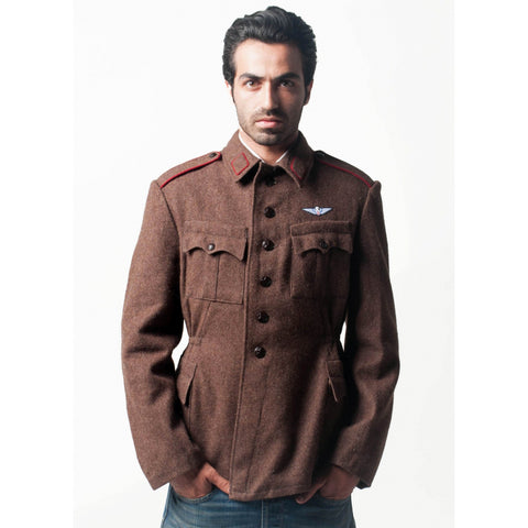 Brown Wool Military Style Jacket / Blazer