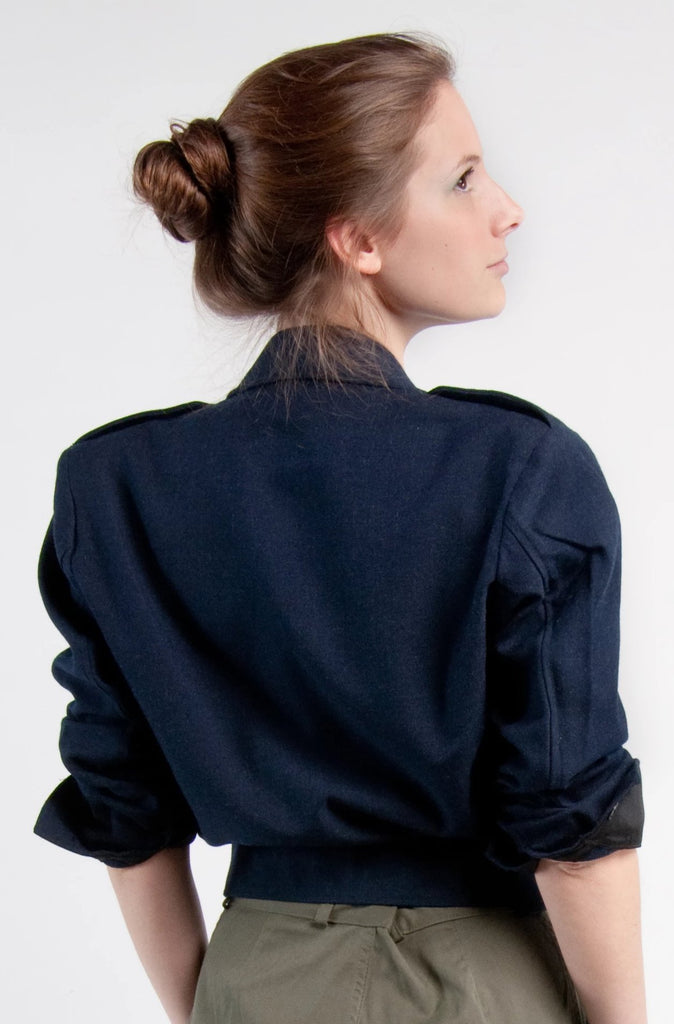 Blue Gabardine Cropped Jacket