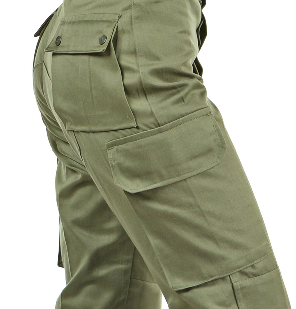 Ladies High Waist Olive Green Military Style Cargos