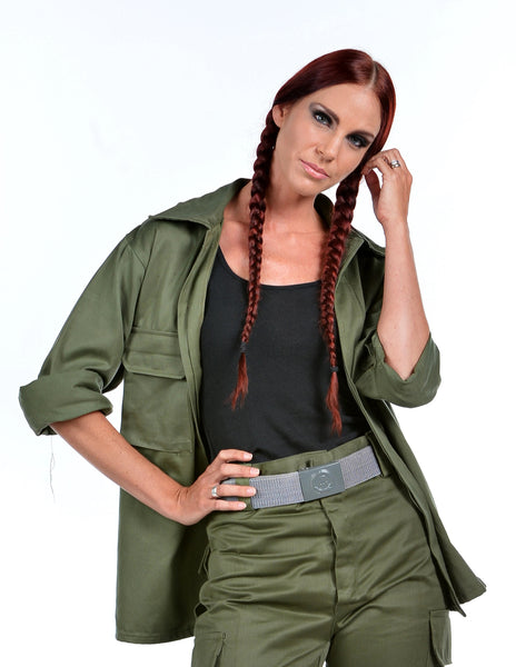 Ladies Olive Green Military Style Shirt