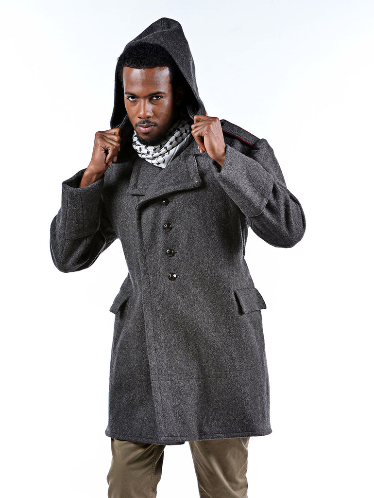 Redesigned Charcoal Hooded Overcoat