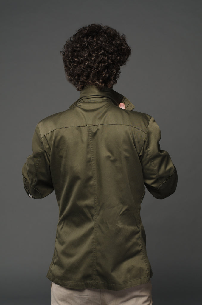 Star Collar Army Green Shirt