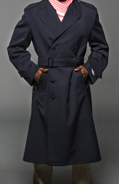 Military Style Navy Blue Gabardine Trench Coat w/Belt