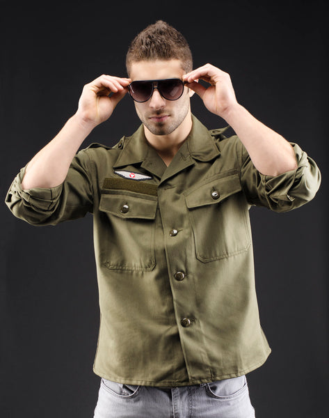 Classic Vintage Style Olive Military Shirt