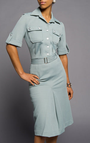 Blue-Gray '50s Style Short Sleeve Dress
