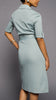 Blue-Gray 50's Style  Short Sleeve Dress