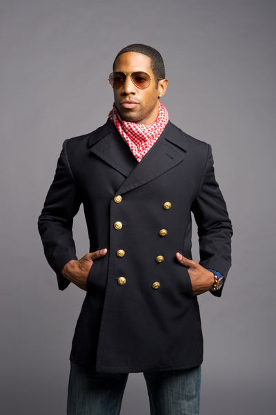 Black Gabardine Navy Peacoat