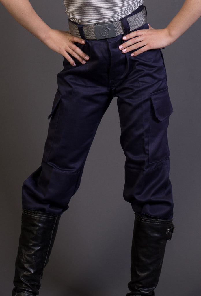 Ladies High Waist Blue Military Style Cargos