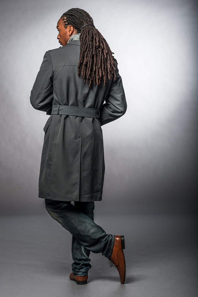 Blue Gray Gabardine Belted Trench Coat
