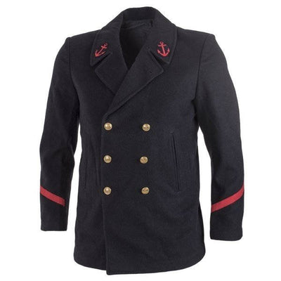 Red Sleeve Striped Navy Wool Peacoat
