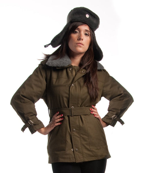 1980's MILITARY STYLE VINTAGE Czechoslovakian Army Women's Olive Parka Jacket By Top Rank Vintage