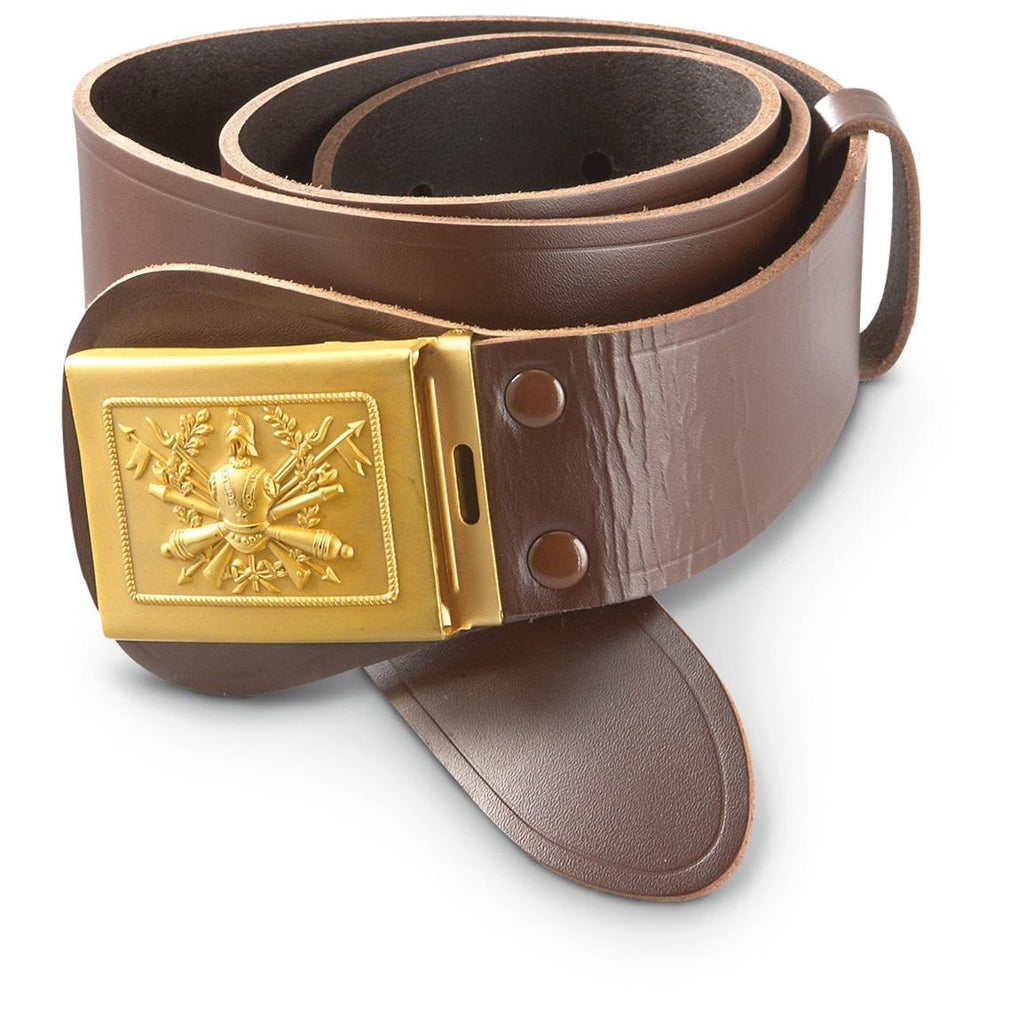 Officer Brown Leather Belt with gold brass buckle