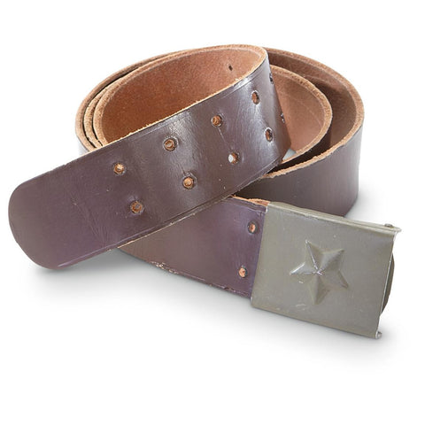 1980's VINTAGE MILITARY STYLE Czech Czechoslovakian Officer Brown Leather Star Buckle Belt