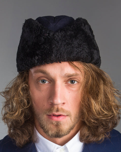 Scandinavian Navy Blue Sheepskin Winter Wool Trapper Ushanka Hat