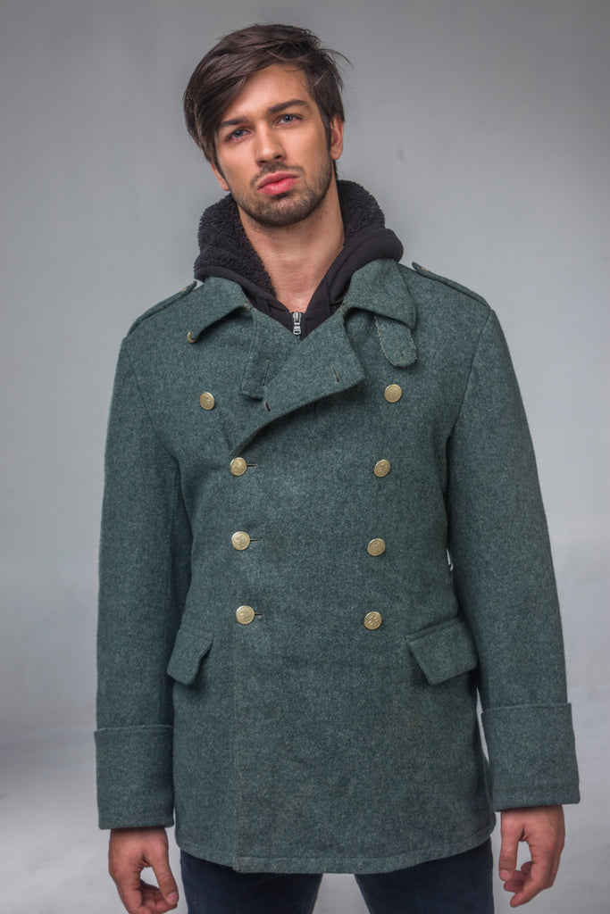 Post WWII Army Wool Grey Blue Overcoat