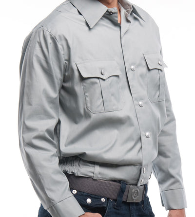 Gray Cropped Button-up Shirt