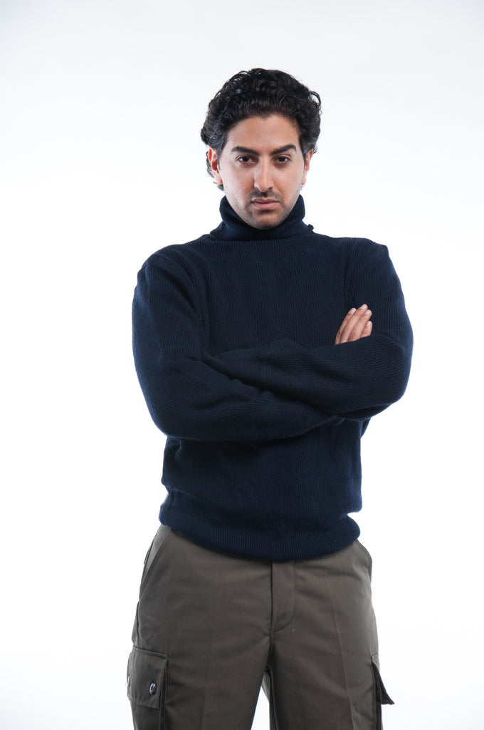 Navy  Wool Turtle Neck