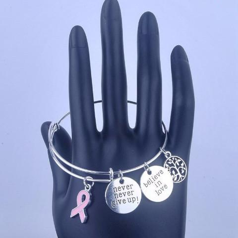 Breast Cancer Awareness Bangle With Charms and Ribbon