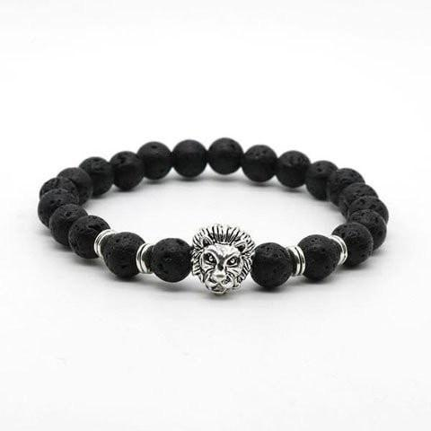 Antique Lion Head and Black Stone Bracelet