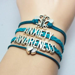Turquoise Braided Leather Anxiety Awareness Bracelet