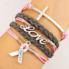 Pink/Grey Braided Leather Breast Cancer Awareness Bracelet