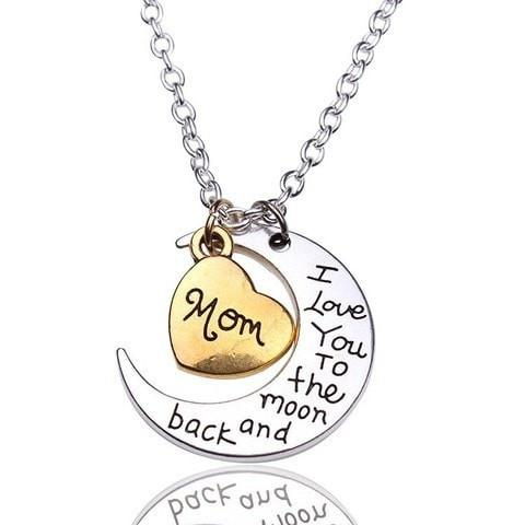 Moon & Back Pendant Necklace