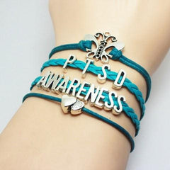 Turquoise Braided Leather P.T.S.D Awareness Bracelet