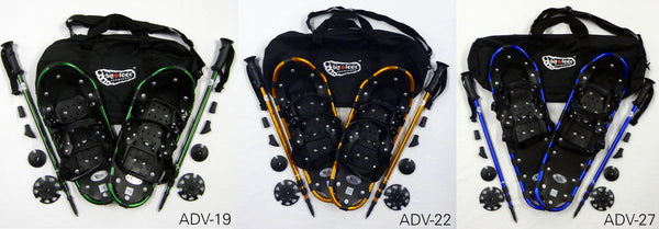 Adventure Snowshoes with matching poles and carry bags