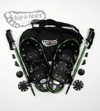 "Adventure 19"" Snowshoes (Good for 50-90 lbs) with Green Poles & Black Carry-Bag"