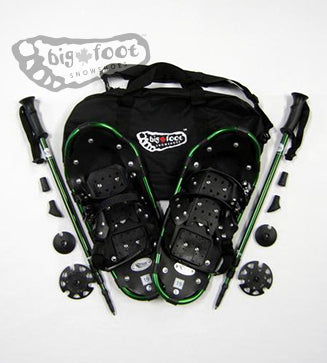 "Adventure 19"" Snowshoes - Good for 50-90 lbs) with Green Poles & Black Carry-Bag"