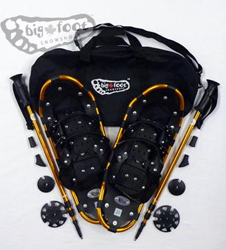 "Adventure 22"" Snowshoes - (Good for 80-120 lbs) with Gold Poles & Black Carry-Bag"