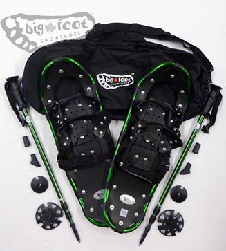 "Adventure 25"" Snowshoes (Good for 110-160 lbs) with Green Poles & Black Carry-Bag"