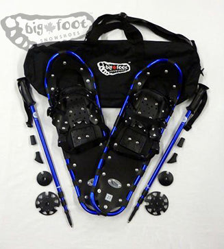 "Adventure 27"" Snowshoes Package - IN STOCK - (GooD for 140-180 lbs) with Blue Poles & Black Carry-Bag"