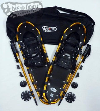 "Adventure 30"" Snowshoes (Good for 160-210 lbs) with Gold Poles & Black Carry-Bag"