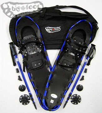 "SALE: PRICES ARE REDUCED BY AN EXTRA 10% - Adventure 34"" Snowshoes Package (Good for 170-230 lbs) with Blue Poles & Black Carry-Bag"