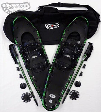"Adventure 36"" Snowshoes (Good for 210-260 lbs) with Green Poles & Black Carry-Bag"