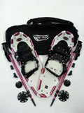 "SPECIAL: Designer 25"" Snowshoes (Good for 110-160 lbs) with Fuschia Poles & Black Carry-Bag"