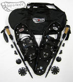 "Elite 25"" Snowshoes (Good for 110-160 lbs) with Black Poles & Black Carry-Bag Package"