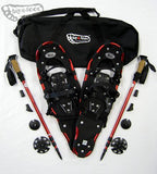 "Elite 27"" Snowshoes  (Good for 140-180 lbs) with Red Poles & Black Carry-Bag Package"