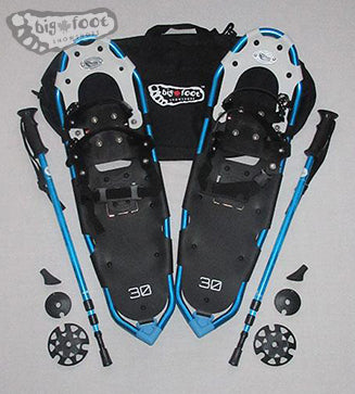 "Huron 30"" Snowshoes (Good for 160-210 lbs) with Black Carry-Bag & Aqua Poles"