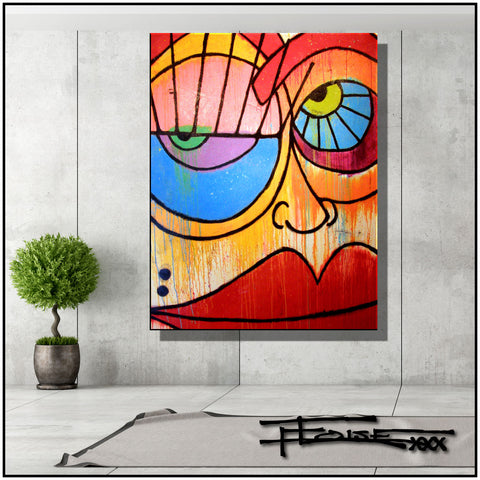 Abstract Painting Modern Artwork Limited Edition Large BIG FACE II By  ELOISExxx