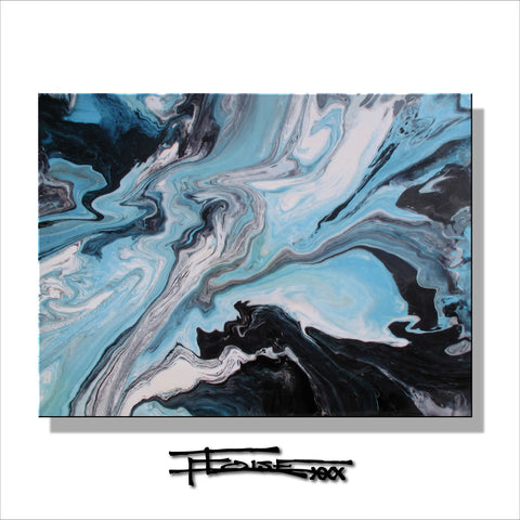 TURQUOISE INFUSION -Limited Edition - Resin Coated - 48 x 30 x 1.5 inch