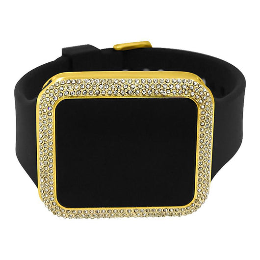 Gold Rectangle LED Touch Screen Watch Black Band