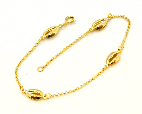 (1-0243-j8) Gold Overlay Shell Design Anklet, 10