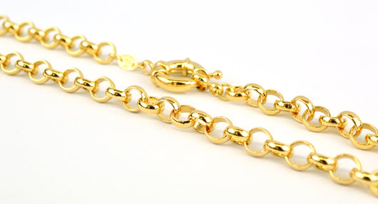 (1-1889-j8) 18kt Brazilian Gold Filled Rolo Necklace with Oversized Lock.